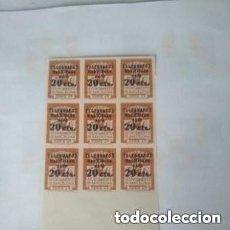 Sellos: 1936 BARCELONA - TELEGRAFOS - EDIFIL 11S - BLOQUE 9 MNH-NUMERO DE CONTROL.- ALTO VALOR. Lote 293538338