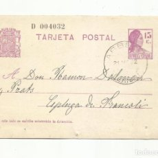 Sellos: TARJETA ENTERO POSTAL EDIFIL 69 CIRCULADA 1932 DE ARBECA LLEIDA LERIDA A ESPLUGA DE FRANCOLI. Lote 294810468