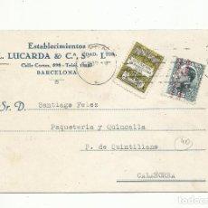 Sellos: TARJETA CIRCULADA 1931 DE BARCELONA A CALAHORRA TERUAL. Lote 294811048