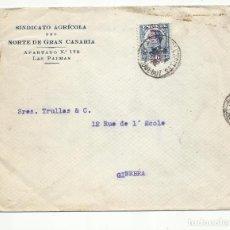 Sellos: CIRCULADA 1932 D SINDICATO AGRICOLA GRAN CANARIA A GINEBRA SUIZA MATASELLO PAQUEBOT MARS ST CHARLES. Lote 294820453