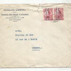 Sellos: CIRCULADA 1932 D SINDICATO AGRICOLA GRAN CANARIA A GINEBRA SUIZA. Lote 294820828