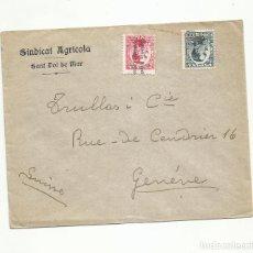 Sellos: CIRCULADA 1932 D SINDICAT AGRICOLA SANT POL DE MAR A GENEVE SUIZA. Lote 294821298