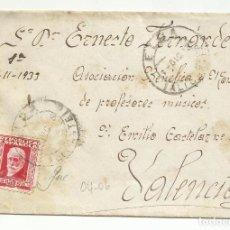 Sellos: CIRCULADA 1933 DE ELDA ALICANTE A ASOCIACION BENEFICA PROFESORES DE MUSICA VALENCIA. Lote 295011048