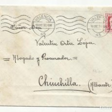 Sellos: CIRCULADA 1933 DE VALENCIA A CHINCHILLA ALBACETE. Lote 295013243