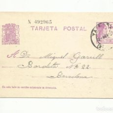 Sellos: TARJETA ENTERO POSTAL CIRCULADA 1933 DE TARRASA A BARCELONA. Lote 295017703