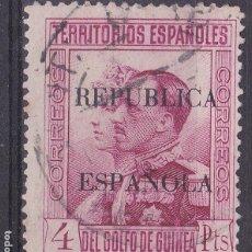 Sellos: MM10 -GUINEA ALFONSO XIII SOBRECARGA REPÚBLICA 4 PTAS EDIFIL 228 USADO. PERFECTO. Lote 295373953