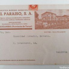 Sellos: MANZANERA. TERUEL. EL PARAISO, S.A. HOTEL BALNEARIO. PUBLICIDAD REMITIDA A VALENCIA, AÑOS 30. Lote 296581588