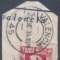 Sellos: EDIFIL 669 PABLO IGLESIAS 1932. EXCELENTE MATASELLOS DE VALENCIA FECHADO EL 22-12-1934.. Lote 296590608