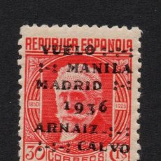 Sellos: ESPAÑA 741** - AÑO 1936 - VUELO MANIAL MADRID- ARNAIZ Y CALVO. Lote 296707658