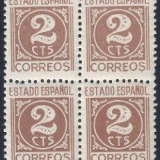 Sellos: EDIFIL 815 CIFRAS, CID E ISABEL 1937 (BLOQUE DE 4). MNH **. Lote 296745373