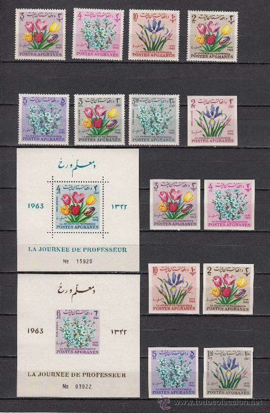 AFGANISTAN 746U/Z, 746U/Z SIN DENTAR, A 52F/J, HB 41A/B CON CHARNELA, FLORES, DIA DEL PROFESOR (Sellos - Extranjero - Asia - Afganistán)