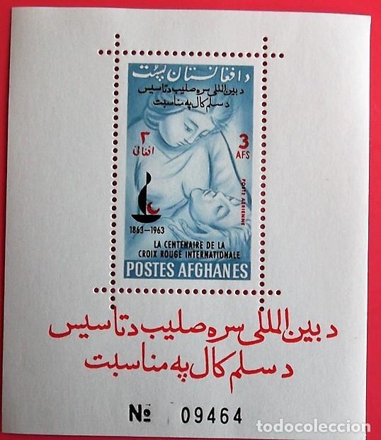 AFGANISTÁN. HB 42 CENTENARIO CRUZ ROJA: ENFERMERA ATENDIENDO HERIDO. 1964. SELLOS USADOS Y NUMERACIÓ (Sellos - Extranjero - Asia - Afganistán)