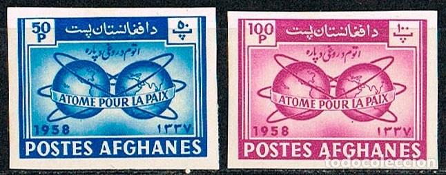 AFGANISTAN SCOTT Nº 463/4, ATOMOS PARA LA PAZ, NUEVOS CON SEÑAL DE CHARNELA, SIN DENTAR (Sellos - Extranjero - Asia - Afganistán)