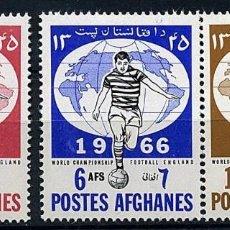 Sellos: AFGANISTAN 1966 - COPA DEL MUNDO DE FUTBOL INGLATERRA 66 - YVERT Nº 807/809**. Lote 228414720