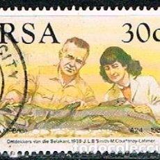 Sellos: SUDAFRICA Nº 806, 50 ANIVERSARIO DEL DESCUBRIMEINTO DEL PEZ COLEACANTO, USADO. Lote 288396498