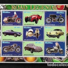 Sellos: AFGANISTÁN 2001, HOJA BLOQUE 9 VALORES ROAD LEGENDS. MNH.. Lote 290919303