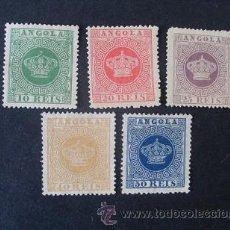 Sellos: ANGOLA,COLONIA PORTUGUESA,1881-1885,CORONA,AFINSA Y SCOTT 10-14,COMPLETA,NUEVOS SIN GOMA. Lote 54140958