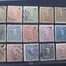 Sellos: ANGOLA,COLONIA PORTUGUESA,1898-1901,D.CARLOS I,AFINSA 38-52,COMPLETA, USADOS, LEER. Lote 204249513
