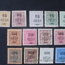 Sellos: ANGOLA PORTUGUESA,1902,D.CARLOS I SOBRETASA,AFINSA 62-74*,SCOTT 70-82*,COMPLETA,LEER DESCRIPCION. Lote 204249892