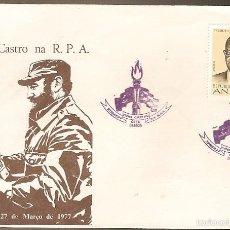 Sellos: ANGOLA & FDC FIDEL CASTRO NA R.P.A, AGOSTINHO NETO, LUANDA 1977 (608). Lote 56243085