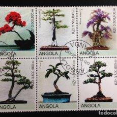 Sellos: ANGOLA - BONSAIS - BLOQUE DE 6 SELLOS CON MATASELLOS DE FAVOR. Lote 97020043