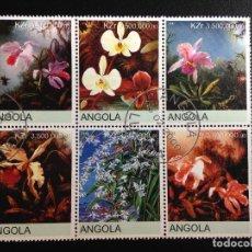 Sellos: ANGOLA - FLORES - BLOQUE DE 6 SELLOS CON MATASELLOS DE FAVOR. Lote 97021091