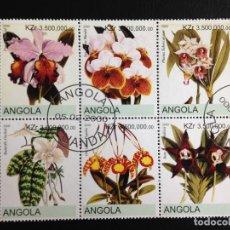 Sellos: ANGOLA - FLORES - BLOQUE DE 6 SELLOS CON MATASELLOS DE FAVOR. Lote 97021475