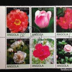 Sellos: ANGOLA - FLORES - BLOQUE DE 6 SELLOS CON MATASELLOS DE FAVOR. Lote 97021943