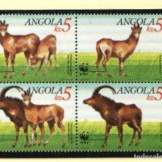 Sellos: ANGOLA 1990 MI 799 A 802 4 SELLOS MNH + 4 FDC + 4 TARJETAS MAXIMAS WWF. Lote 106912219
