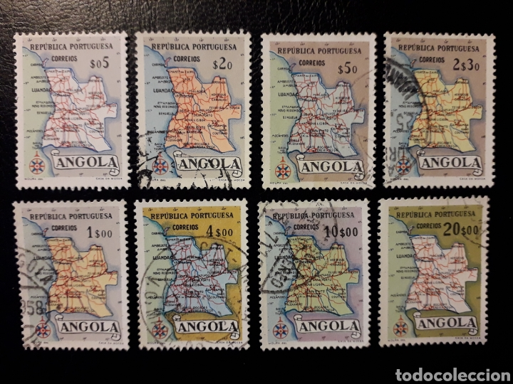 ANGOLA. YVERT 381/8 SERIE COMPLETA USADA. MAPAS (Sellos - Extranjero - África - Angola)