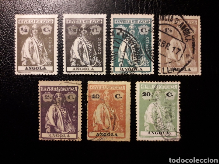 ANGOLA. YVERT 142/5, 147, 151 Y 153 (TIPO B). DENTADO 15 X 14. SELLOS SUELTOS * Y USADOS. CERES. (Sellos - Extranjero - África - Angola)