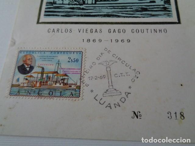 Sellos: GAGO COUTINHO. ANGOLA, REPUBLICA PORTUGUESA. 2,50 ESCUDOS. PRIMER DIA DE CIRCULACIÓN. TARJETA - Foto 2 - 193086516