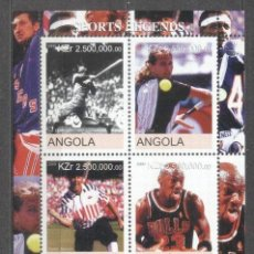 Sellos: ANGOLA 2000 SPORTS LEGENDS, PERF. SHEET, MNH S.084. Lote 198262245