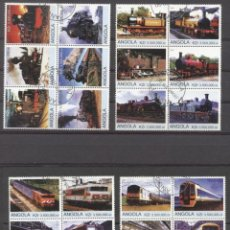 Sellos: ANGOLA 2000 TRAINS, 4 BLOCKS, USED AS.096. Lote 198262250
