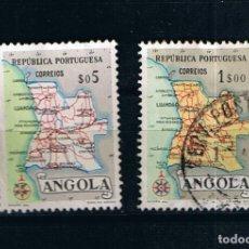 Sellos: ANGOLA 1955 COLONIAS PORTUGUESAS MAPA, DOS SELLOS ANTIGUOS. Lote 262239895