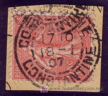 ARGELIA. (CAT. 129 FRANCIA). 10 CTS. SEMBRADORA. MAT. FECHADOR *CONSTANTINE/CONSTANTINE* DE ARGELIA. (Sellos - Extranjero - África - Argelia)
