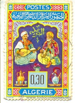 2ARG-411. SELLO USADO ARGELIA. YVERT Nº 411. MUSICOS, TE Y CACHIMBA (Sellos - Extranjero - África - Argelia)