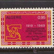 Sellos: ARGELIA 493** - AÑO 1969 - 50º ANIVERSARIO DE LA ORGANIZACION INTERNACIONAL DEL TRABAJO. Lote 38529323