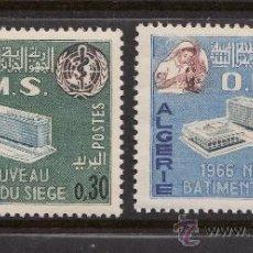 Sellos: ARGELIA 424/25** - AÑO 1966 - NUEVA SEDE DE LA ORGANIZACION MUNDIAL DE LA SALUD. Lote 38573611