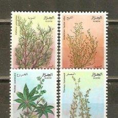 Sellos: ARGELIA YVERT NUM. 762/5 ** SERIE COMPLETA SIN FIJASELLOS FLORES PLANTAS MEDICINALES. Lote 43088428