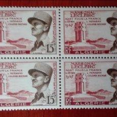 Sellos: ARGELIA 1947 MARISCAL LECLERC BLOQUE DE CUATRO NUEVOS SIN CHARNELA. Lote 88915032