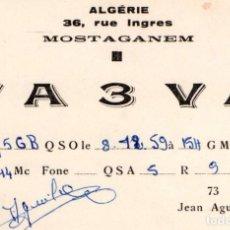 Sellos: QSL FA 3 VA MOSTAGANEM 1961. Lote 105044403