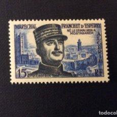 Sellos: ARGELIA Nº YVERT 336*** AÑO 1956. CENTENARIO NACIMIENTO MARISCAL F. D´ESPEREY. Lote 113369107