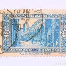 Sellos: SELLO POSTAL ARGELIA 1939, 2,25 FR ARG. , MEZQUITA EL KEBIR, USADO. Lote 149886806