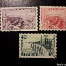 Timbres: ARGELIA. YVERT 339/40 SERIE COMPLETA USADA. VISTAS. PUERTO DE ORAN. TRENES. PUENTES. Lote 180045653