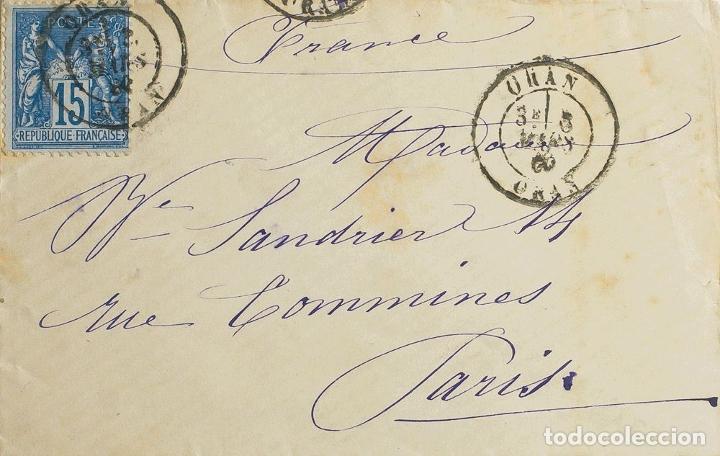 ARGELIA. SOBRE YV FRANCIA 90. 1880. 15 CTS AZUL. ORAN A PARIS. MATASELLO ORAN / ORAN. MAGNIFICA. RE (Sellos - Extranjero - África - Argelia)