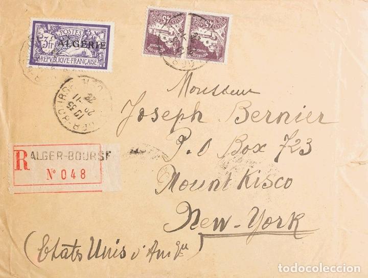 ARGELIA. SOBRE YV 32, 46(2). 1926. 3 FR VIOLETA Y 45 CTS VIOLETA, PAREJA. CERTIFICADO DE ARGEL A MO (Sellos - Extranjero - África - Argelia)