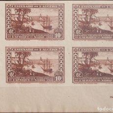 Sellos: ARGELIA. MNH **YV 100B(4). 1930. 10 F CASTAÑO, BLOQUE DE CUATRO, ESQUINA DE PLIEGO. SIN DENTAR. MAG. Lote 183142267