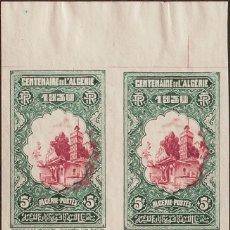 Sellos: ARGELIA. MNH **YV 99(4). 1930. 5 F+5 F VERDE Y CARMÍN, BLOQUE DE CUATRO. SIN DENTAR. MAGNIFICO. REF. Lote 183143061