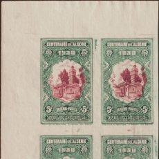 Sellos: ARGELIA. MNH **YV 99(4). 1930. 5 F+5 F VERDE Y CARMÍN, BLOQUE DE CUATRO. SIN DENTAR. MAGNIFICO. REF. Lote 183143725